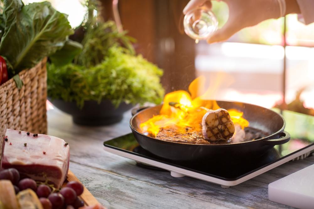 Flame in frying pan.