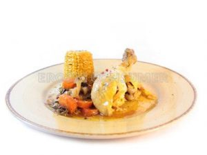 Pollo guisado con verduras y maíz