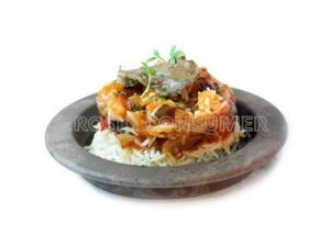 Escalibada con arroz basmati