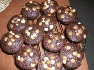 Muffins de chocolate, con avellanas