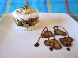 Aro de arroz con gambas y berenjenas