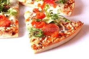 Pizza de setas y gambas