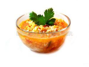 Sopa de lentejas, naranja y cebada