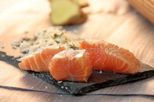 Arroz basmati con salmón teriyaki
