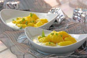 Ñoquis de calabaza con crema de queso gorgonzola