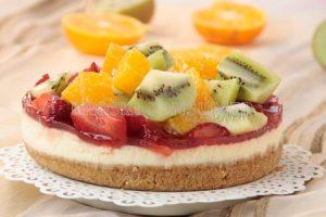 Torta de queixo e froitas sen forno