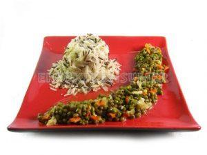 Estofado de soja verde con arroz basmati