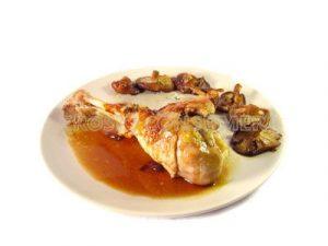 Muslos de pavo con miel y setas shitake