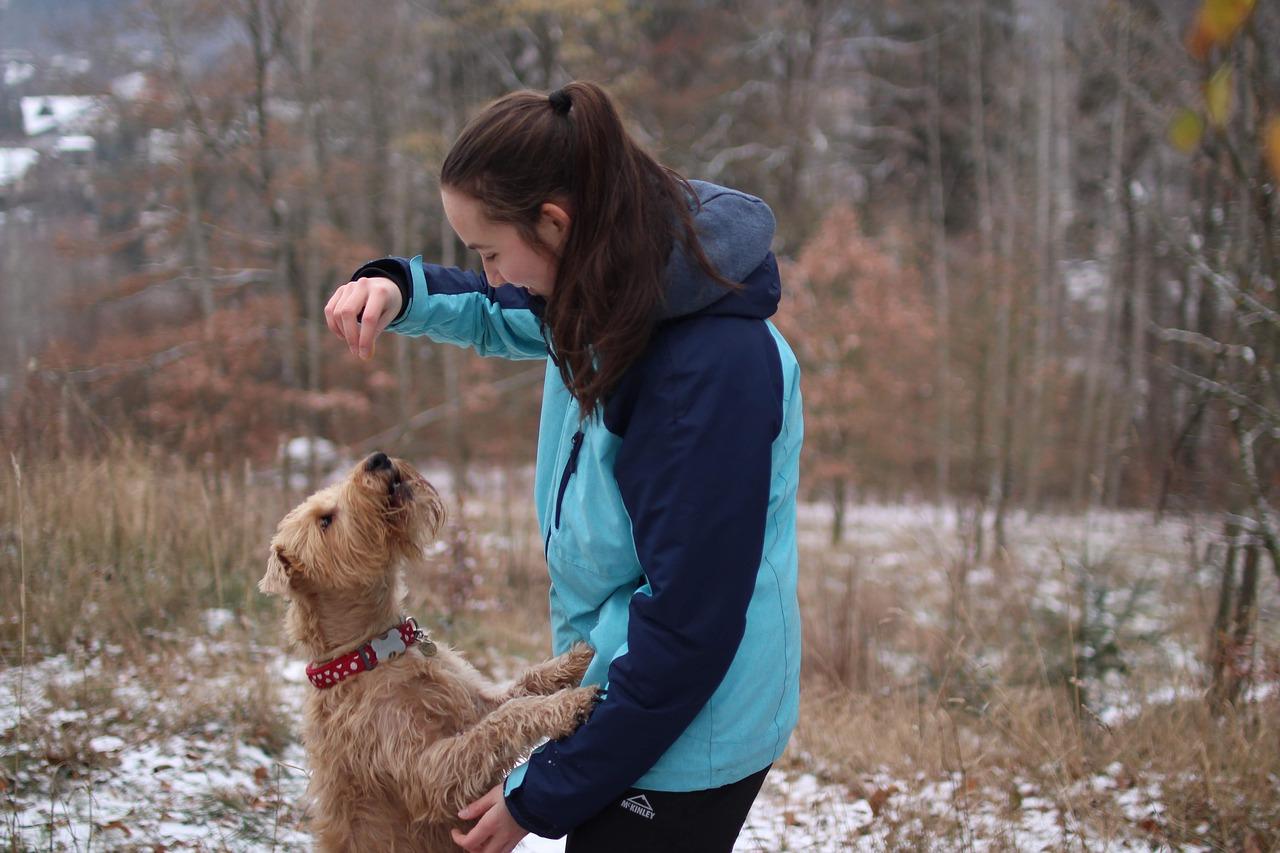 Perro mujer paseo mascota