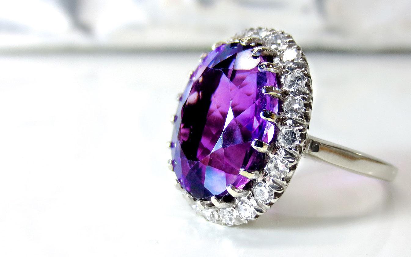 anillo amatista brillantes joya