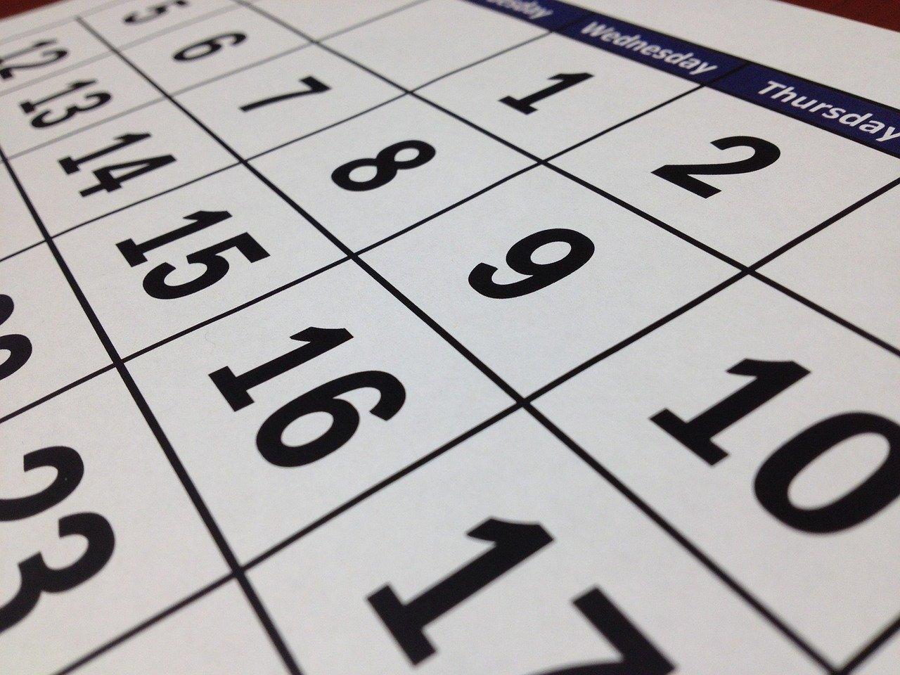 calendario fechas