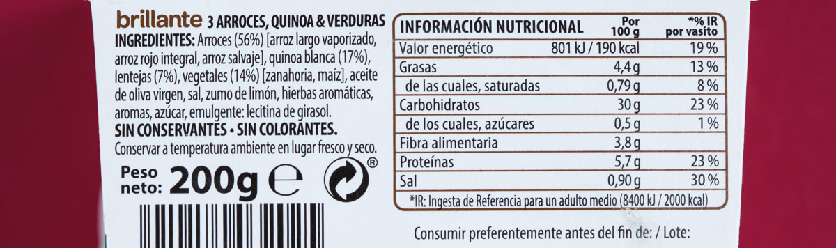 arroz brilante benefit ingredientes composicion nutricional