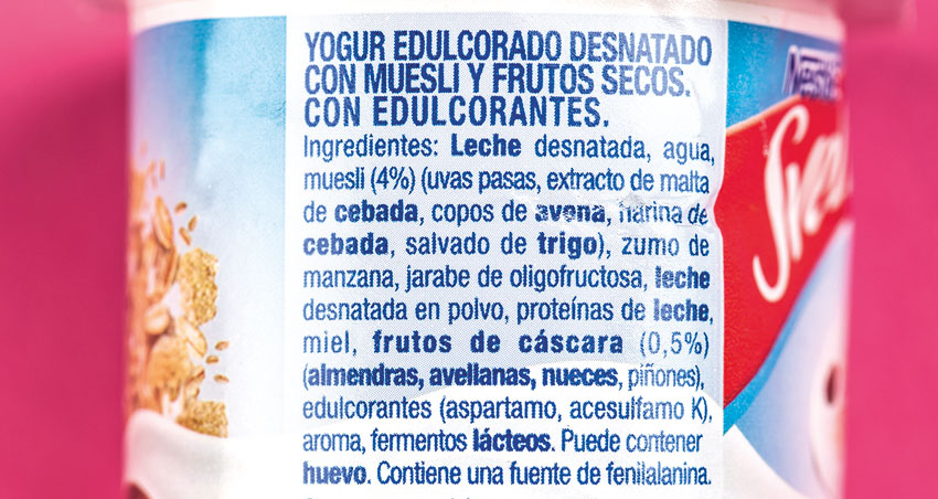 etiqueta ingredientes yogur edulcorado
