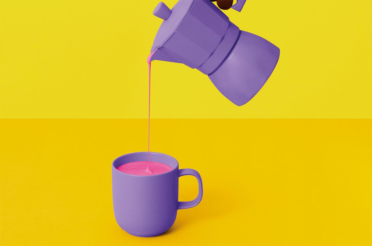 existe café color rosa azul