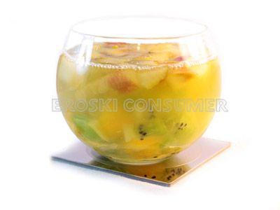 Macedonia de frutas gelatinizada con agar-agar