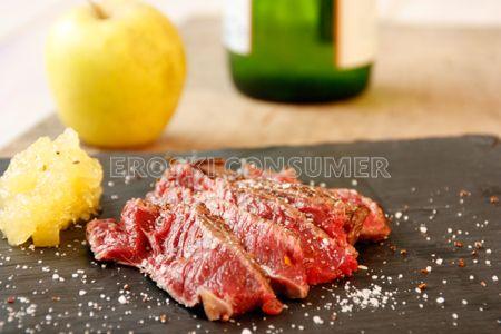 Receta de sashimi de chuletón con parmentier de manzana reineta y sidra