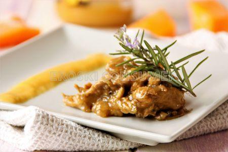 Receta de costilla lacada con miel y sus jugos con puré de calabaza asada