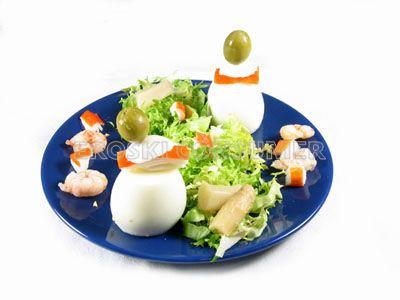 Huevos rellenos de atún y cangrejo