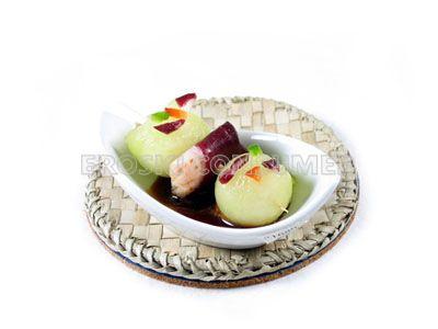 Entrantes de melón y jamón de pato